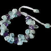 Aquamarine and Amethyst Bracelet