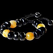 Black Agate with Yellow Botswana Agate Bracelet