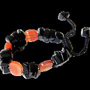 Black Obsidian with Carnelian Bracelet