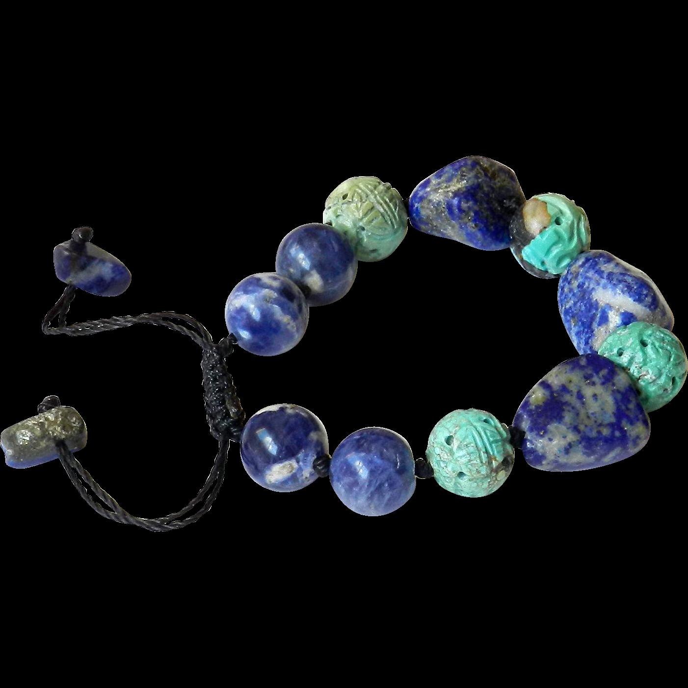 turquoise and lapis lazuli bracelet from gemartstudio on ruby lane. Black Bedroom Furniture Sets. Home Design Ideas
