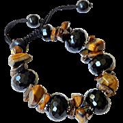 Black Onyx and Tiger Eye gemstone Bracelet