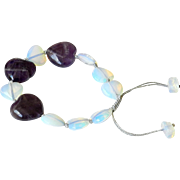 Amethyst and Opalite heart shaped bracelet