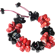 Black Obsidian Bracelet with Sea Bamboo dyed in Red