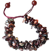 Garnet Bracelet with Freshwater cultured blister Pearls