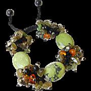 Serpentine and Green Apatite Gemstone Bracelet