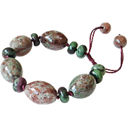 Green & Red Garnet and Zoisite with Rubies Bracelet.