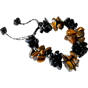 Tiger Eye and Black Obsidian Bracelet