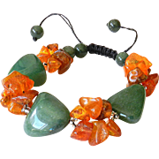 Green Aventurine with Baltic Amber Bracelet