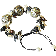 Abolone Shell Mosaic Balls with cultured blister Freshwater Pearls Bracelet