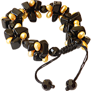 Black Obsidian and cultured dyed golden freshwater Pearls Bracelet