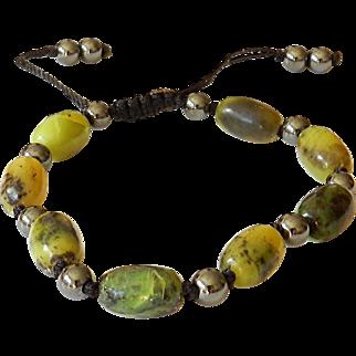 Chinese Chrysoprase and Hematite Bracelet