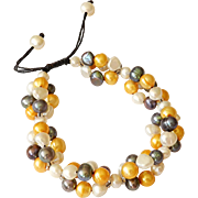 Pearl Bracelet with cultured Freshwater Multicolor Pearls