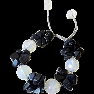Opalite and Blue Goldstone Bracelet