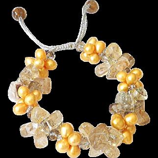 Rutilated Quartz and Freshwater Pearls Bracelet