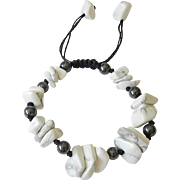 Black Agate and cultured freshwater Pearls Bracelet