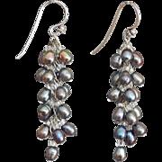 """Black cultured freshwater Pearls Earrings 2"""""""