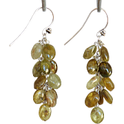 Green Garnet Earrings 2""