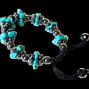 Turquoise(reconstituted) and Hematite Bracelet