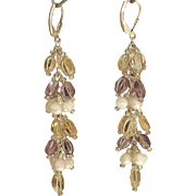 Amethyst, Citrine and cultured freshwater Pearls Earrings