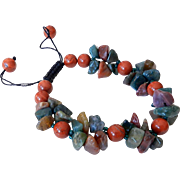 Red Jasper and Multicolor Agate Bracelet
