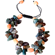 Agate with Corals Bracelet