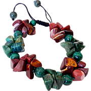 Mookaite, Malachite and Green Agate Bracelet