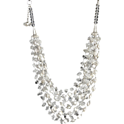 Clear Quartz and cultured white coin Pearl Necklace