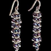 """Black cultured freshwater Pearls Earrings 2.5"""""""