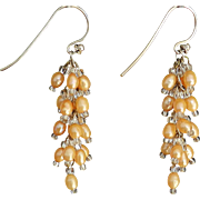 Golden dyed cultured freshwater pearls earrings