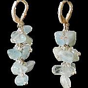 "Aquamarine Earrings, 1.5"""