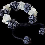 Aquamarine and Snowflake Obsidian Bracelet
