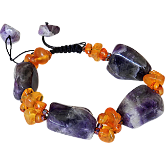 Amethyst and Baltic Amber Bracelet