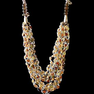 Citrine, Green Garnet, Hesonite, Red Garnet, Smoky Quartz and cultured Freshwater Pearls Necklace