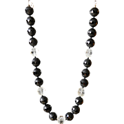 Black Onyx and Clear Quartz Necklace
