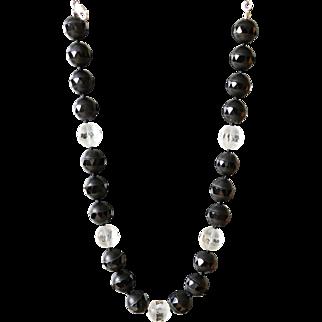 Black Onyx and Clear Quartz Necklace