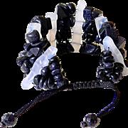 Blue Chalcedony and Blue Goldstone Bracelet