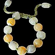 Yellow Botswana Agate and Green Rutilated Quartz Bracelet