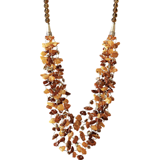 Baltic Amber and Red Jasper Multi-Layer Necklace