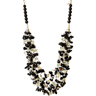 Aquamarine, Black Obsidian and cultured Freshwater Pearls Necklace