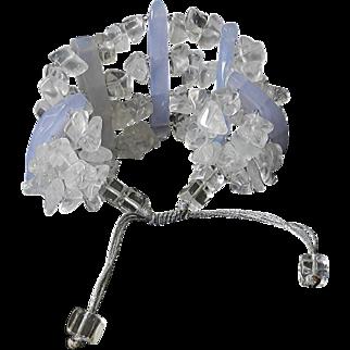 Blue Lace Agate and Quartz Bracelet
