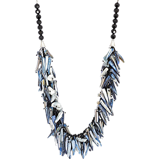 Mother of Pearl Necklace in Blue & White with Aquamarine
