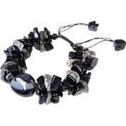 Black Agate with Black Obsidian and Rutilated Quartz Bracelet