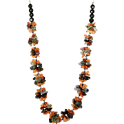 Carnelian and Multicolor Agate gemstone Necklace