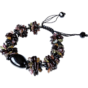 Black Agate, Tourmaline and Garnet Bracelet
