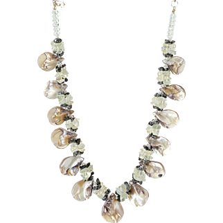 Mother of Pearl Necklace with Aquamarine, Citrine and Snowflake Obsidian