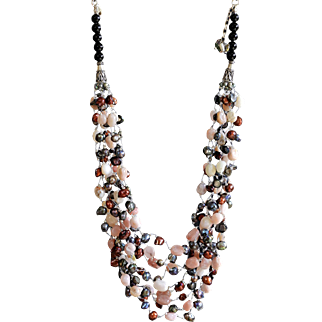 Pink Opal with blister cultured Freshwater Pearls Necklace