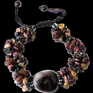 Tourmaline Multicolor, Garnet and Black Agate Gemstone Bracelet