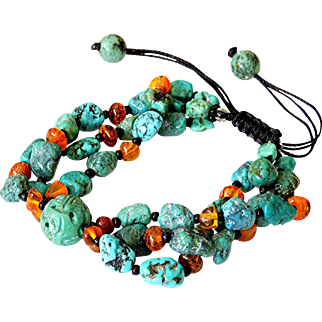 Three Strand Turquoise Bracelet with Baltic Amber