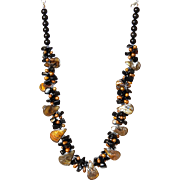 Mother of Pearl with Black Onyx and freshwater cultured Pearls Necklace