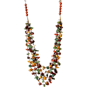 Moukite and Red Jasper with Green Aventurine Necklace
